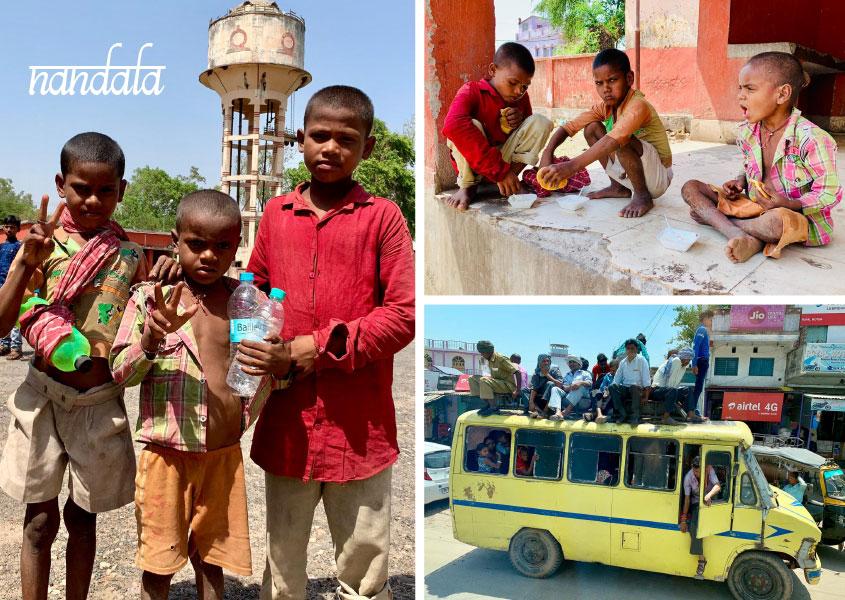 Wir teilen unser Essen mit drei Jungs in Nandala