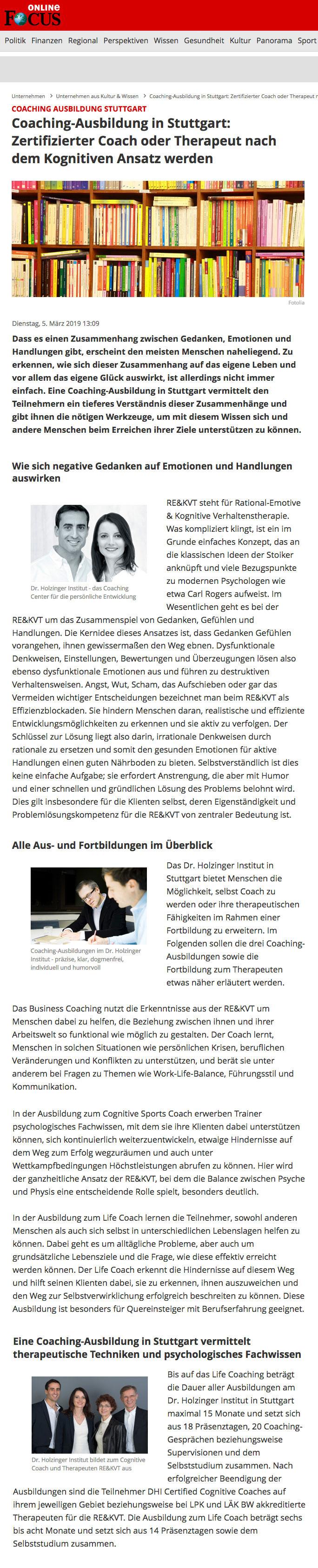 Presseartikel von focus online über die Coaching-Ausbildung am Dr. Holzinger Institut