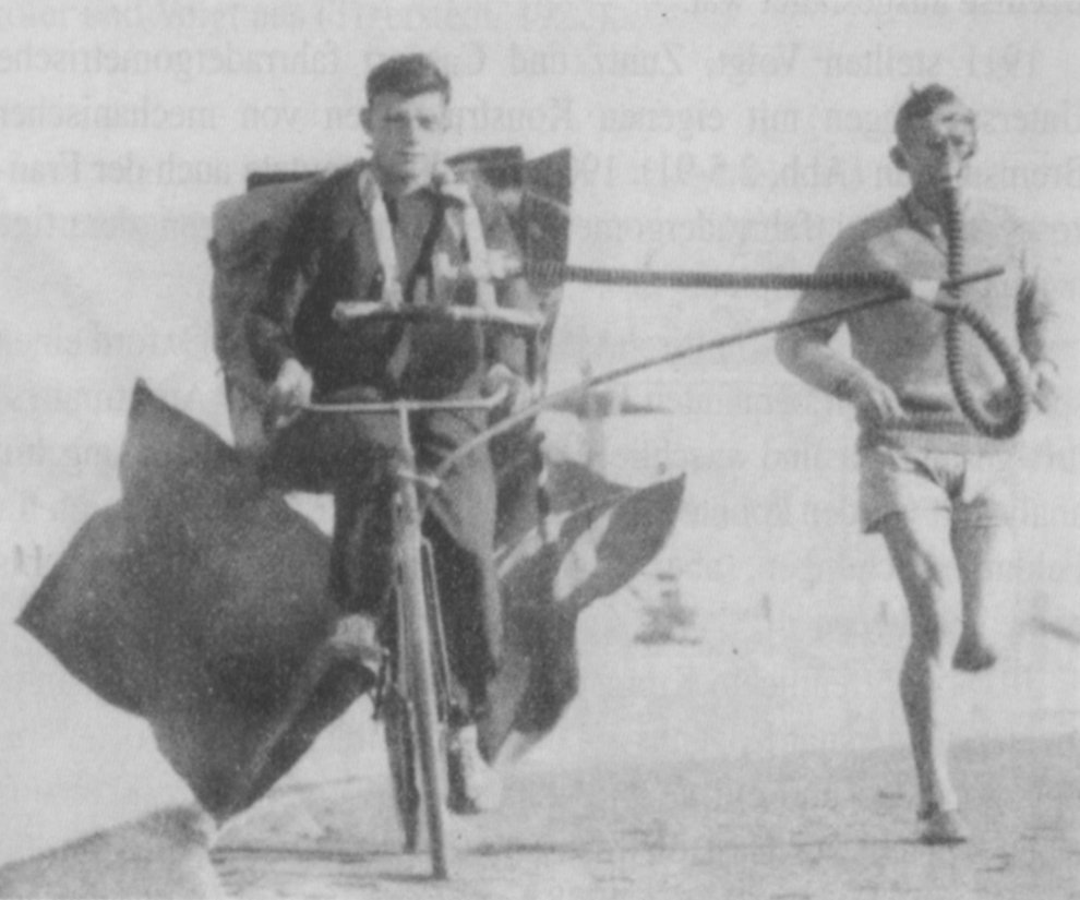 Gasstoffwechseluntersuchung während des Laufens unter Benutzung des Douglas-Sackes, durchgeführt von Kost 1928 in Berlin