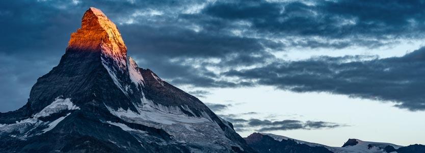Matterhorn im Abendlicht. Im Coaching kann man viel erreichen.